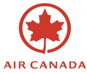 Air Canada logo with a maple leaf in red