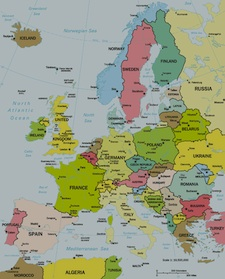 A simple map of the countries in Europe