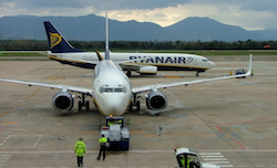 Two Ryan Air airplanes waiting to take off in Europe