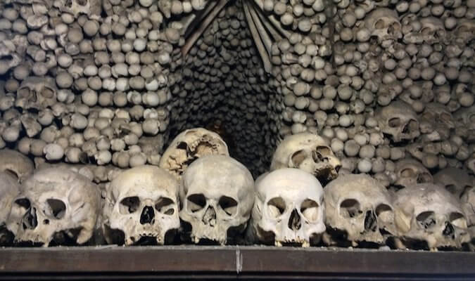 Skull and bones at the kutna hora bone church in Prague