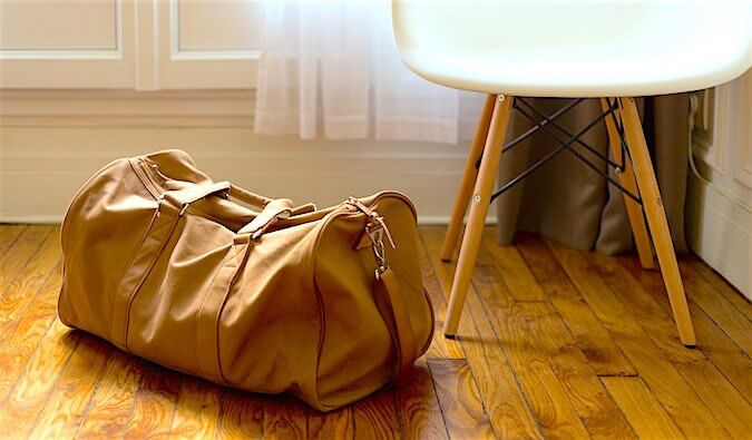 A bag on someone's floor at home