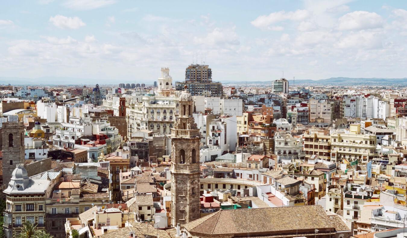 The historic skyline of Valencia, Spain