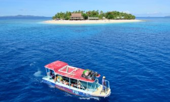 A boat and small island in Fiji