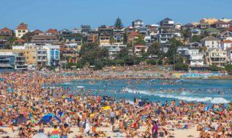 A full crowd of people at Bondi Beach in Australia