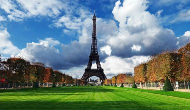 the view of the Eiffel Tower in Paris from across the gardens