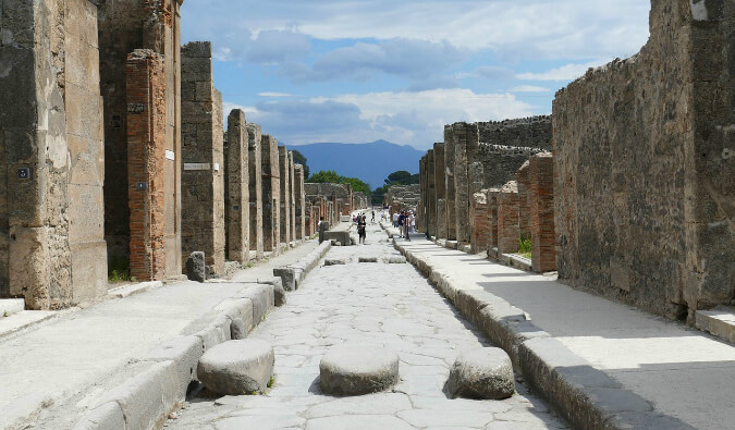 a street in the archeological site of Pomeii in Italy