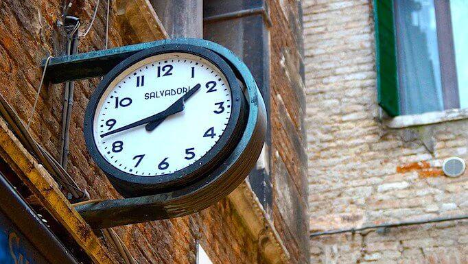 A clock outside a shop