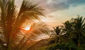 A relaxing beach scene at sunset in Costa Rica