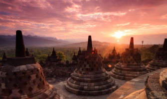 A sunrise photo at Borobudur in Indonesia