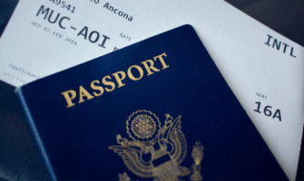 A close-up shot of a blue US passport