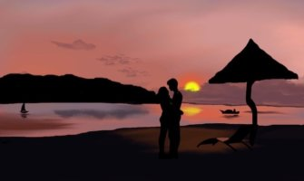 A painting of a couple on the beach at sunset