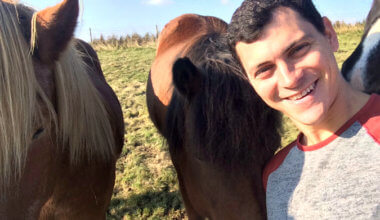 Matt Kepnes, aka Nomadic Matt, hanging out with Icelandic horses in a field in Iceland