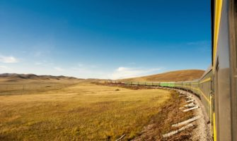The Trans-Siberian train tarveling across the Russian steppe