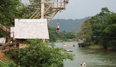 Person on the Vang Vieng Swing in South East Asia