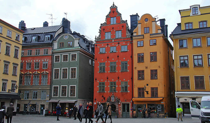 colorful Swedish buildings on a busy high street