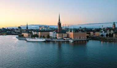 areal image of Stockholm taken over the water