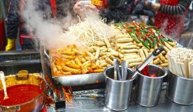image of street food being prepared with steam coming off