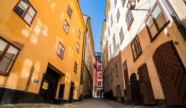 colorful buildings in Stockholm taken from a low vantage point