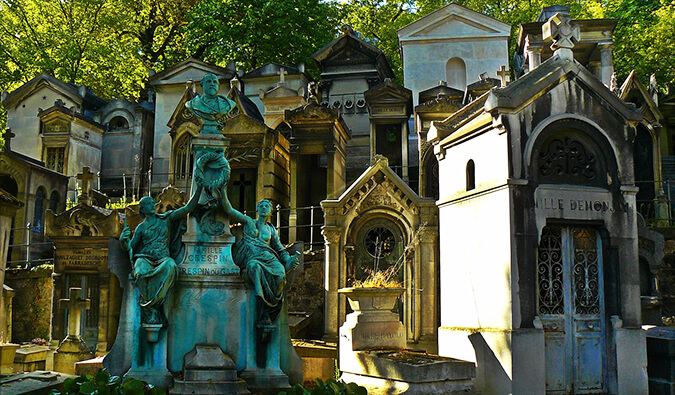 Ornate gravestones in a Paris Cemetery