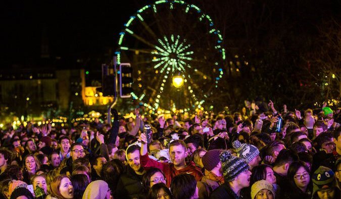 Image of people celebrating Hogmanay