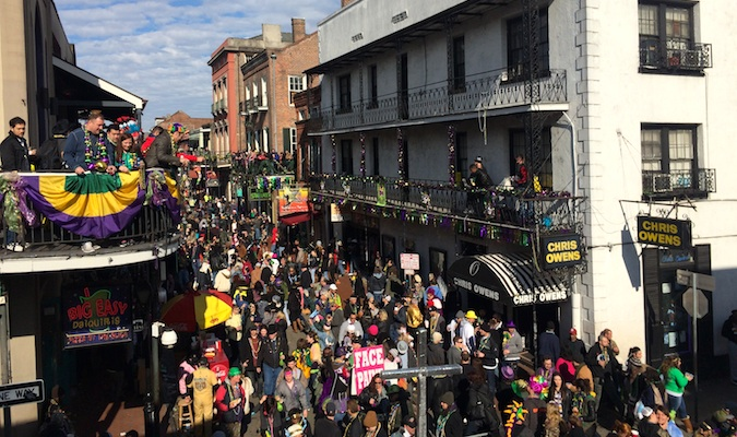 New Orleans during Mardi Gras with people out