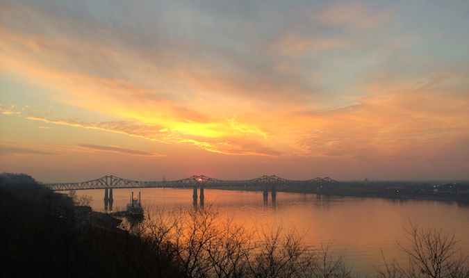 Sunset over the bridge in Natchez, MS