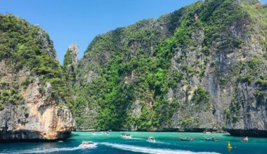 The busy and overcrowded island of Koh Phi Phi in Thailand