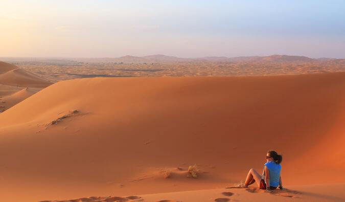 Lauren Juliff looking out over the desert in Africa