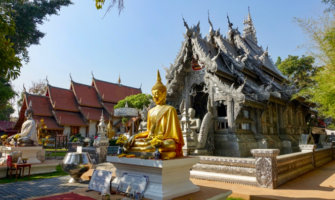 A small temple in Chiang Mai, Thailand on a sunny day