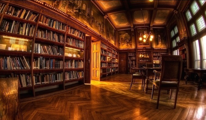 Lots of books in a library