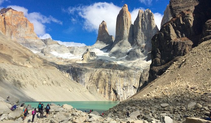 Wide shot of Torres del Paine in Patagonia, Chile