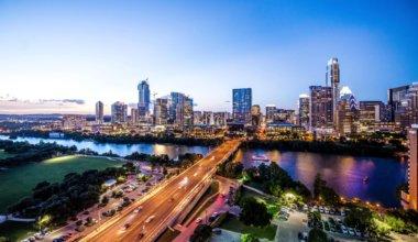 The skyline of Austin, Texas at night