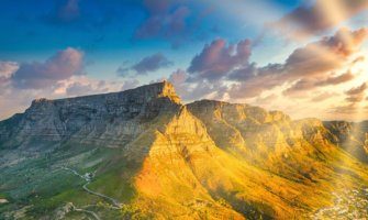 The massive Table Mountain near the coast of Cape Town, South Africa