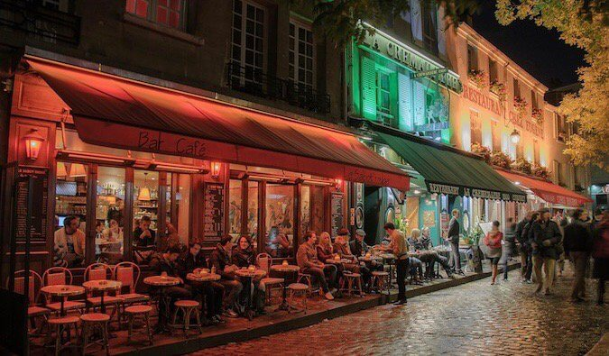 The outdoor patio of a cafe in Paris