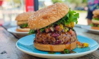 A delicious vegan burger