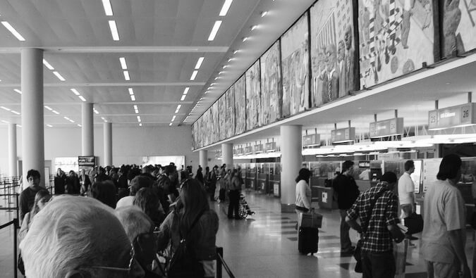 People at the airport in the United States