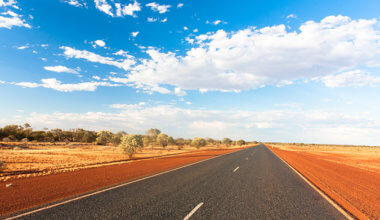 A wide open road in the Outback of Australia