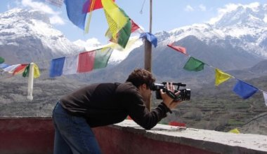 Brook filming in the mountains of Nepal