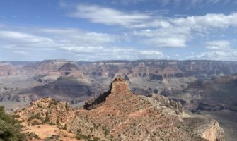 Unique rock formations and towering cliffs at the Grand Canyon