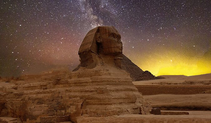 stars behind the sphinx in Egypt
