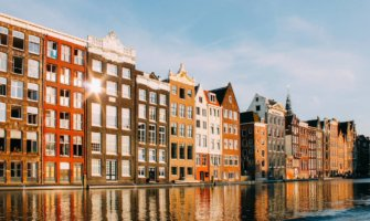 Traditional apartments along the canal in Amsterdam
