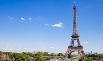 The Eiffel Tower in Paris, France in the summer