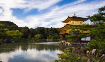 The Golden Pavilion in Japan on a bright summer day
