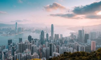 Hong Kong's beautiful skyline from above at the golden hour