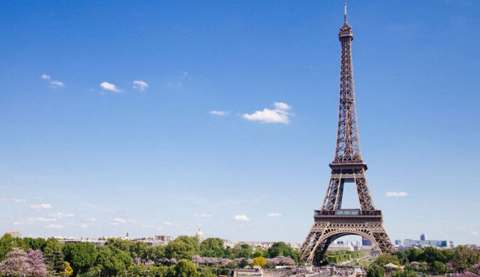 The Eiffel Tower in Paris, France on a clear summer day