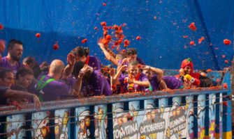 People having fun at the La Tomatina festival in Spain