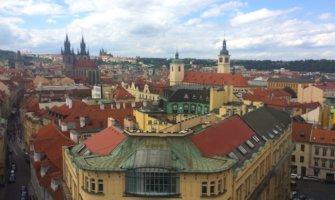 The historic skyline of Prague, Czechia