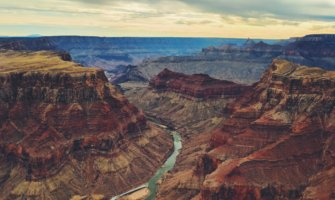 The colorful rocks of the Grand Canyon during sunset