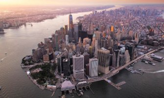 areal shot of New York City taken from the lower east side facing north