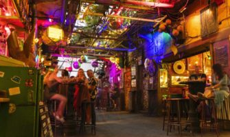 The interior of a ruin bar in Budapest, Hungary